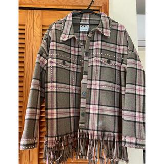ザラ(ZARA)のチェック シャツ ジャケット コート 新品 XL ZARA  ザラ  ピンク(ミリタリージャケット)