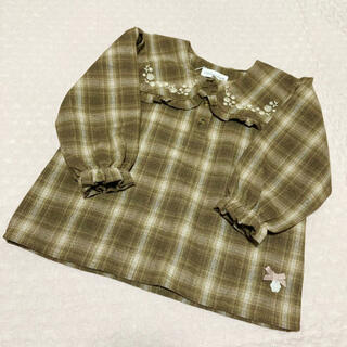 フタフタ(futafuta)の【新品未使用】ママラク チェック 刺繍 ブラウス 95 トップス 長袖シャツ(ブラウス)