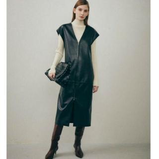LE CIEL BLEU - LE CIEL BLEU Faux Leather Gilet Dress