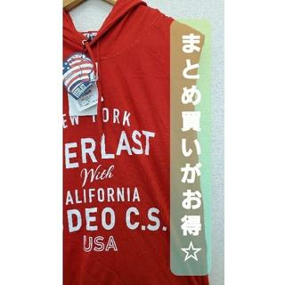 エバーラスト(EVERLAST)の(123♪)  EVERLAST 新品 Tシャツ   フード 赤 エバーラスト(Tシャツ/カットソー(半袖/袖なし))