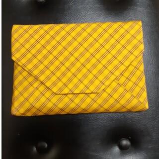 黄八丈 数寄屋袋 イエロー 黄色 チェック 絹 御朱印帳入れ(ポーチ)