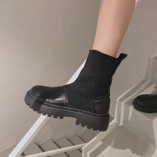 ジーナシス(JEANASIS)のストレッチ ビガーブーツ 厚底ブーツ 厚底ショートブーツ サイドゴア 美脚(ブーティ)