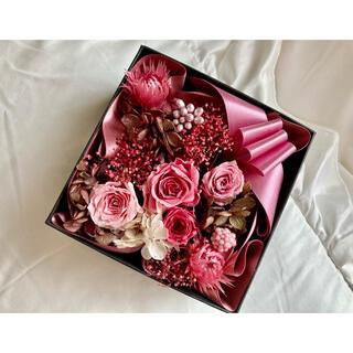 ボックスフラワー ドライフラワー 乾燥 花 箱 ピンク パープル(ドライフラワー)