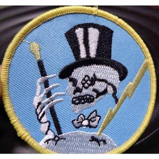 空黄◆新品アメリカ軍 米軍 空軍 黒帽子 骸骨紳士 刺繍ワッペン(パッチ)WW2(その他)