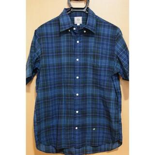 ジェイプレス(J.PRESS)のメンズシャツ、チェック、青、J.PRESS(USブランド)、美品、Lサイズ(シャツ)