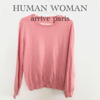 ヒューマンウーマン(HUMAN WOMAN)のHUMAN WOMAN arrive paris コットン トップス M(カットソー(長袖/七分))