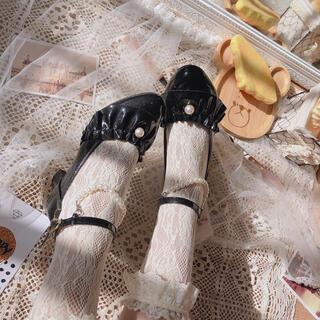 アンクルージュ(Ank Rouge)の真珠 黒パンプス ハイヒール ゴシックロリータ ゆめかわ 量産系地雷系やみかわ(ハイヒール/パンプス)