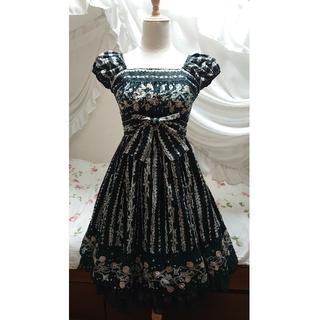 ヴィクトリアンメイデン(Victorian maiden)のVictorian maiden ジュエルリボンパフスリーブドレス ブラック(ひざ丈ワンピース)
