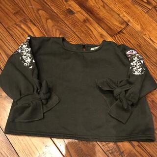 ダークグレーの刺繍入りフレアトップス(Tシャツ/カットソー)