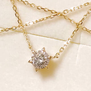 アガット(agete)の新品 agete アガット 一粒ダイヤモンドネックレス 0.15ct  K18(ネックレス)