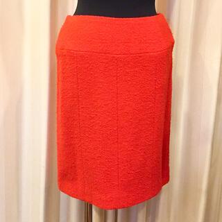 シャネル(CHANEL)のCHANEL シャネル ウール スカート SIZE 36 オレンジ ヴィンテージ(ミニスカート)