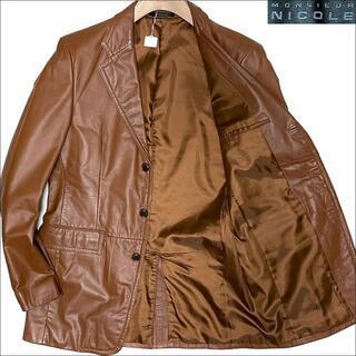 MONSIEUR NICOLE - J4030 美品 ムッシュニコル 牛革 レザーテーラードジャケット ブラウン50