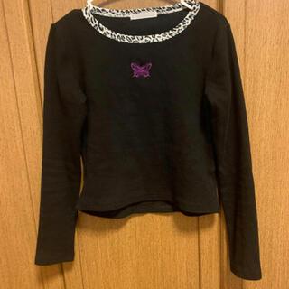 スピンズ(SPINNS)のSPINNS ロンT 蝶々 黒(Tシャツ(長袖/七分))