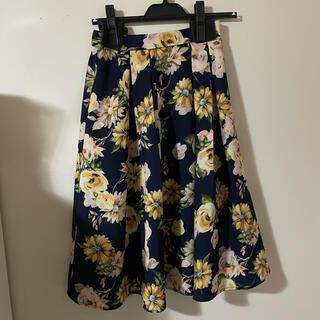 アラマンダ(allamanda)の花柄スカート 花柄 ネイビー  紺 フレア アラマンダ allamanda(ひざ丈スカート)