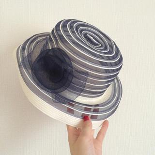 エディットフォールル(EDIT.FOR LULU)のヴィンテージ ストローハット リボン 透け 帽子(麦わら帽子/ストローハット)