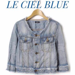 ルシェルブルー(LE CIEL BLEU)のLE CIEL BLUE ルシェルブルー【美品】ノーカラー 七分袖 ジャケット(Gジャン/デニムジャケット)