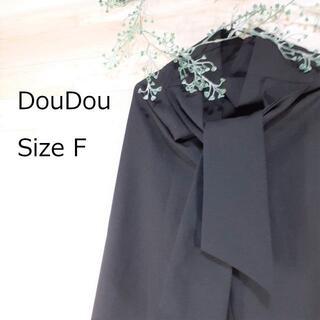 ドゥドゥ(DouDou)の「専用」DouDou レディース ワイドパンツ 黒 リボン付き フリー(カジュアルパンツ)