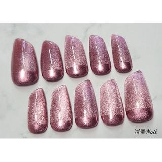 [No.14] ピンク系マグネットジェル×根本ミラーフレンチ ネイルチップ