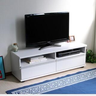 テレビ台 120cm ロータイプ 50インチ 大型テレビ対応 ホワイト(棚/ラック/タンス)