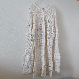 グリモワール(Grimoire)のvintageレトロ古着ホワイトかぎ針編みカーディガン(カーディガン)