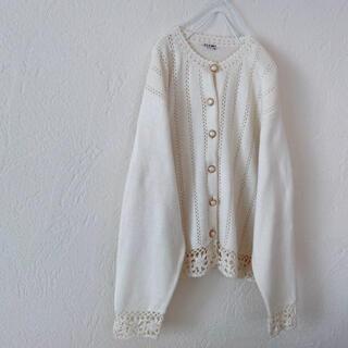 グリモワール(Grimoire)のvintageレトロ古着パールボタン刺繍ホワイトカーディガン(カーディガン)