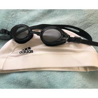 アディダス(adidas)の水泳帽子とゴーグルのセット(マリン/スイミング)