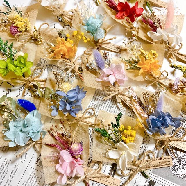 ラッピング ミニブーケ ♡ ドライフラワー ブーケ かすみ草  ハンドメイドのフラワー/ガーデン(ドライフラワー)の商品写真