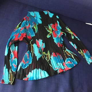 ロキエ(Lochie)のVintage  pleats フラワー  シャツ トップス プリーツ 花柄(カットソー(長袖/七分))