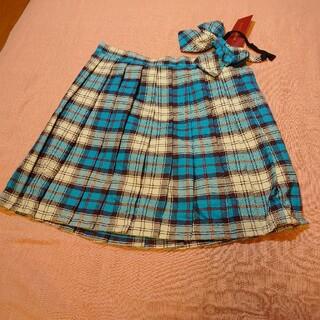 ボディライン(BODYLINE)の【制服】コスプレ 制服チェックスカート リボンタイ付き ブルー(ひざ丈スカート)