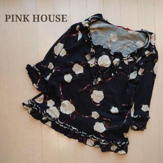 PINK HOUSE - PINK HOUSEピンクハウス 花柄フリルニットチュニック トップス黒L春夏