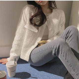 スタイルナンダ(STYLENANDA)の【予約商品】《2カラー》ノーカラー ツイード ジャケット 韓国ファッション 春(ノーカラージャケット)