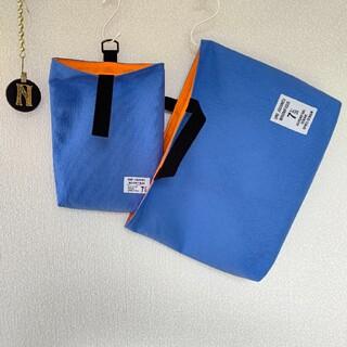 再販☆スチールブルー×黒☆裏地 オレンジ レッスンバッグ 上履き入れ(バッグ/レッスンバッグ)