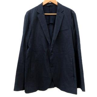 セオリー(theory)のセオリー テーラード ジャケット シングル 2B 春夏 麻 紺 38(テーラードジャケット)
