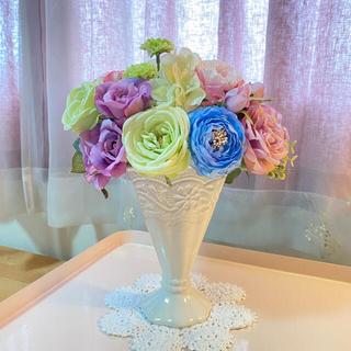 アスカコーポレーション(ASKA)の薔薇香る🌹✨大きめ♪春の花束ブーケ陶器高級シルクフラワーアレンジBOX付き💐(その他)
