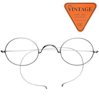 SALE!デッド未使用USA シルバー丸眼鏡 ラウンド ヴィンテージ アメリカ(サングラス/メガネ)