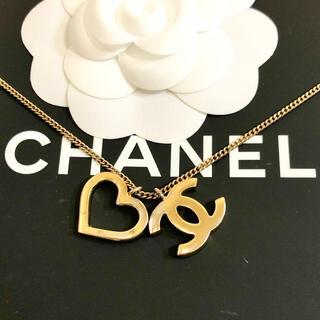シャネル(CHANEL)の正規品 シャネル ネックレス ハート ゴールド ココマーク 金 チェーン ロゴ(ネックレス)