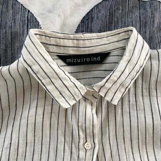 mizuiroindミズイロインドのストライプリネンシャツ(シャツ/ブラウス(長袖/七分))