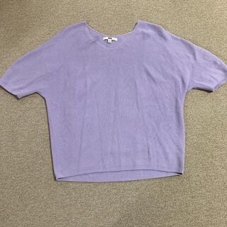 ユニクロ(UNIQLO)のユニクロ 3Dコットンドルマンスリーブセーター(5分袖)パープル(カットソー(半袖/袖なし))