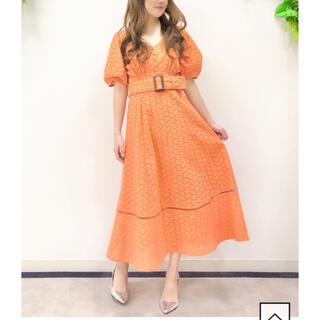 アンドクチュール(And Couture)のカットワークレースワンピース オレンジ(ひざ丈ワンピース)