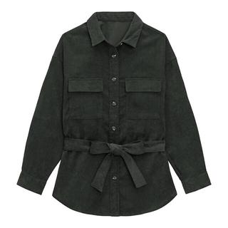 ジーユー(GU)の【新品】GU オーバーサイズコーデュロイシャツ シャツジャケット ダークグレー(スプリングコート)