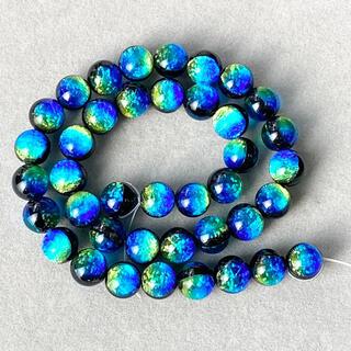 ケラマブルー 10㎜ 連売り 蓄光 ホタルガラス 40個(各種パーツ)