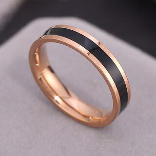 ローズゴールド ステンレスリング ステンレス指輪 ピンキーリング ブラック(リング(指輪))