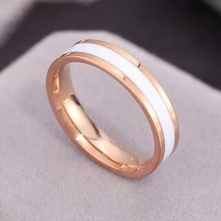 ローズゴールド ステンレスリング ステンレス指輪 ピンキーリング ホワイト(リング(指輪))
