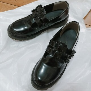 シマムラ(しまむら)のダブルベルト ブラックシューズ(ローファー/革靴)