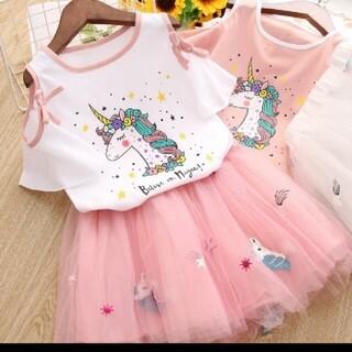 ユニコーン柄カットソー&チュールスカート  女の子 キッズ セットアップ(ドレス/フォーマル)
