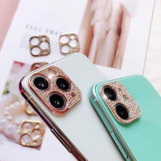 アイフォーン(iPhone)の【iPhone12mini】ピンクゴールド カメラレンズカバー 韓国 可愛い (モバイルケース/カバー)