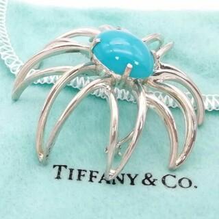 ティファニー(Tiffany & Co.)のヴィンテージ ティファニー 大粒 ターコイズ ファイヤー フラワー ブローチ(ブローチ/コサージュ)