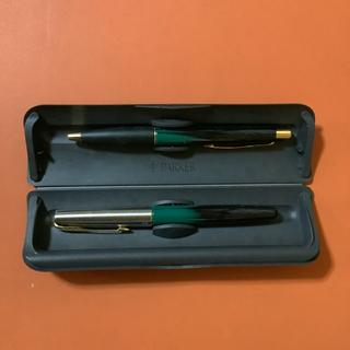 パーカー 万年筆&ボールペンセット緑 ケース付き