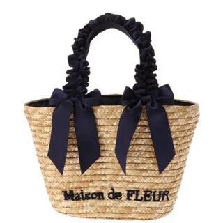 メゾンドフルール(Maison de FLEUR)のMaison de FLEUR フリルハンドルダブルリボンかごバッグ(かごバッグ/ストローバッグ)
