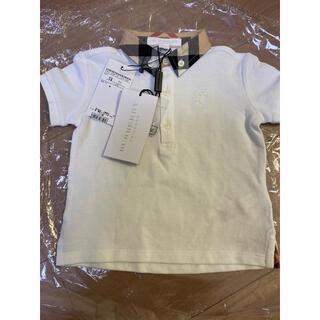 バーバリー(BURBERRY)の値下 新品 バーバリー ポロシャツ 白 ノバチェック フォーマル 80(シャツ/カットソー)